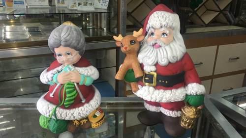 Santa y señora santa adorno navidad ceramica