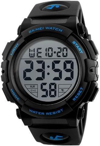 Reloj skmei grande digital deportivo azul negro resiste 50 m