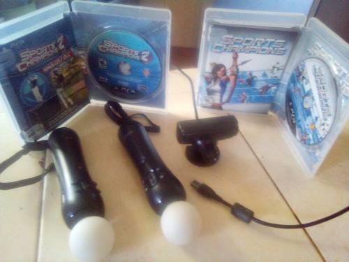 Ps3 controles play station move sony, cámara y 2 juegos