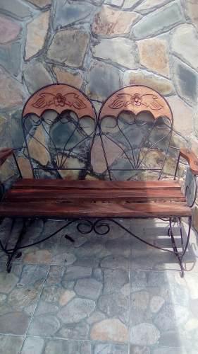 Juego de recibo de madera y hierro forjado