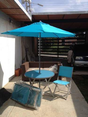 Set de patio 4 sillas mesa y sombrilla aluminio plegable