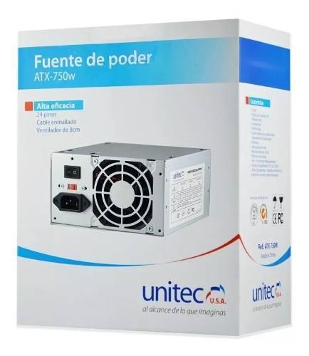 Fuente de poder unitec atx-750w para pc 75w cable 20-24