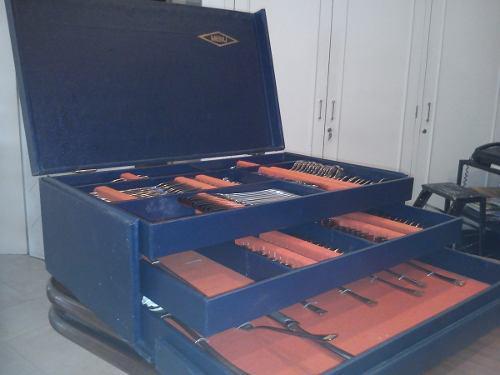Juego de cubiertos acero y oro 24k alemán 130 piezas