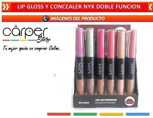 Labial tipo lip gloss y concealer nyx doble funcion