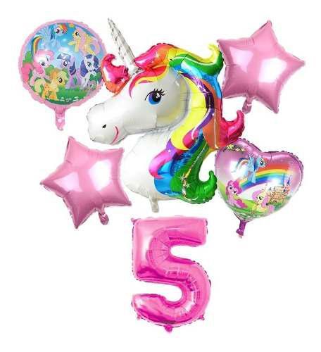 Globo metalizado inflable cumple fiesta niña set unicornio