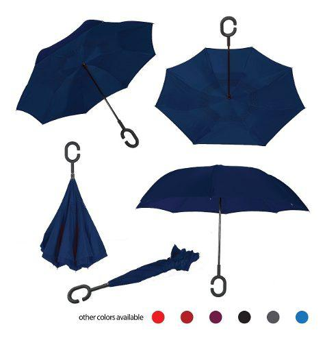 Paraguas invertido, doble capa, reversible, manos libres.