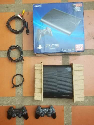 Ps3 superslim caja+250gb+2controles+9juegos digitales(140us)