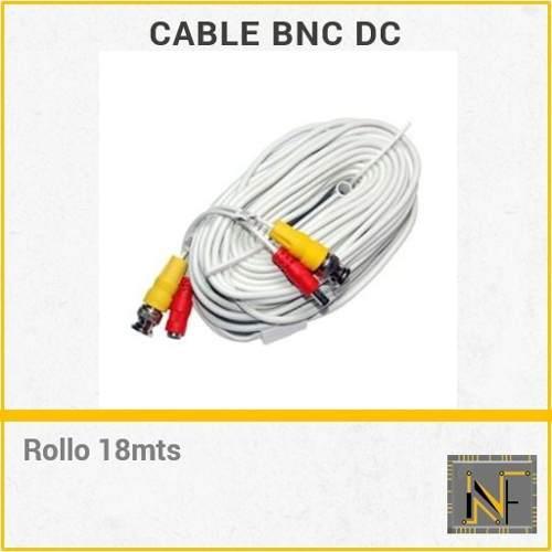 Cable bnc dc camara video corriente ahd 18 mts