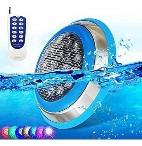 Lampara led 9w piscina jacuzzi rgb color acero con control