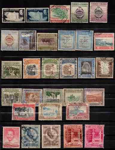 Estampillas colombia 1956 usadas