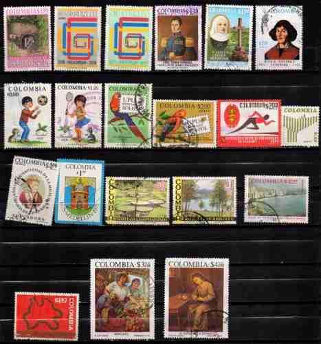 Estampillas colombia 1974-75 usadas