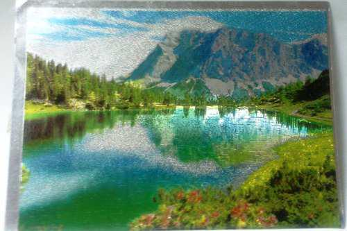 Impresión postal papel metalizado paisaje lago y montaña