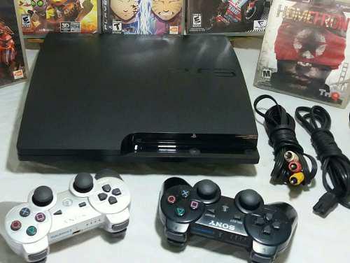 Playstation 3 slim 160gb 2 controles +7 juegos