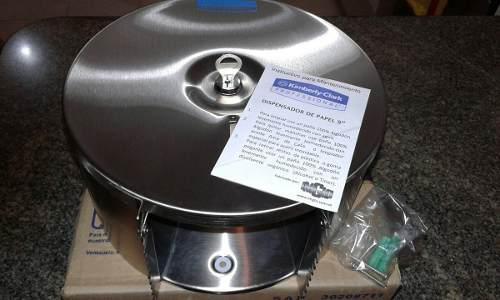 Dispensador papel acero inoxidable 9 kimberly clark c/seguro