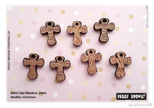 Mini dijes madera mdf bisutería cruz 24 piezas surtidas