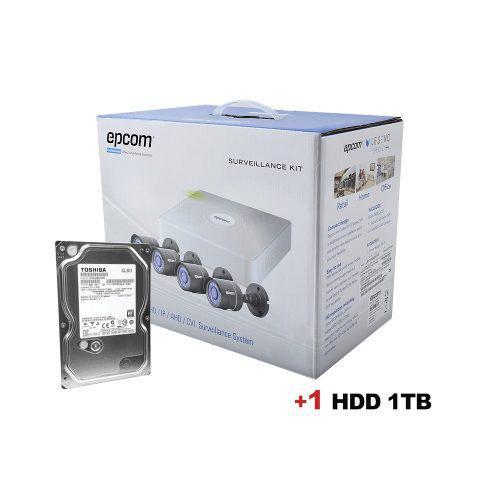 Kit 4 camaras hikvision 720p disco duro 1tb+cables 18mts