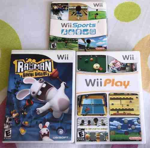 Tres juegos de wii en combo: rayman, wii play y wii sport