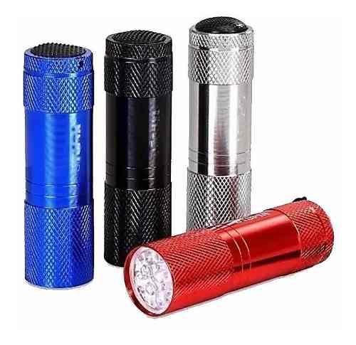 Linterna 9 led roja azul plateada pilas aaa aluminio calidad