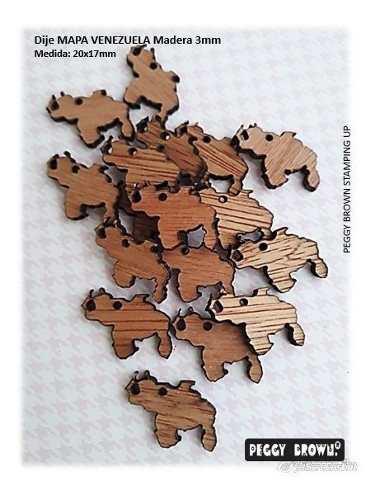 Dijes en madera mdf para bisutería mapa venezuela 24pzs