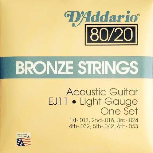 Cuerdas daddario para guitarra acústica 80 /20 light e ej11
