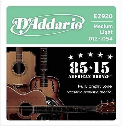 Cuerdas daddario para guitarra acústica 85 /15 medium ez920