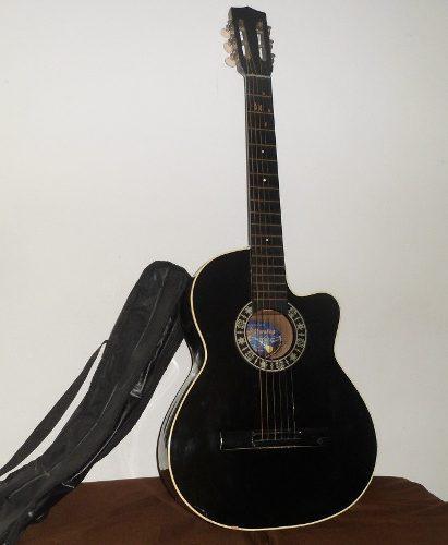 Guitarra acústica cuerdas de metal capotraste