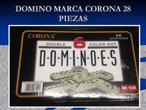 Domino dominoes marca corona 28 piezas caja de metal