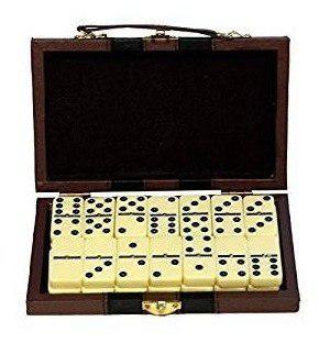Juego de domino nuevo 28 f estuche en piel 10 vrds
