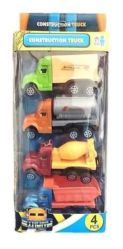 Set carros camion mega truck construcción 4en1 juguete