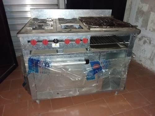Cocina industrial de 4 hornillas, plancha, horno, gratinador