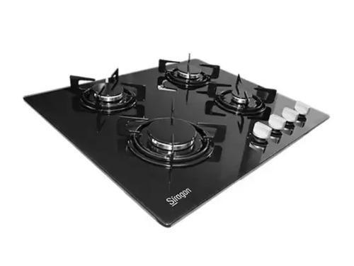 Tope cocina a gas de lujo en vitroceramica negro 4 hornillas
