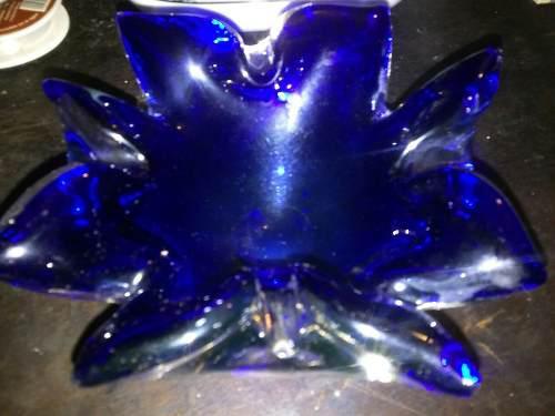 Cenicero De Cristal De Arte Murano Color Azul En Perfecto
