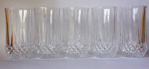 Cinco Hermosos Vasos Altos Cristal D'arques Modelo Longchamp