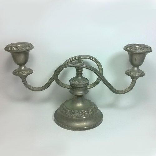 Candelabro ianthe de metal con baño de plata vintage