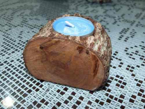 Porta velas en madera rustica para decoraciones