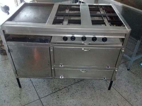 Cocina industrial de 4 hornilla y plancha