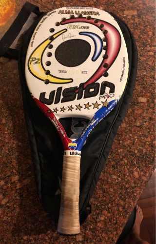 Raqueta beach tennis vision profesional 100% carbon 3k usada