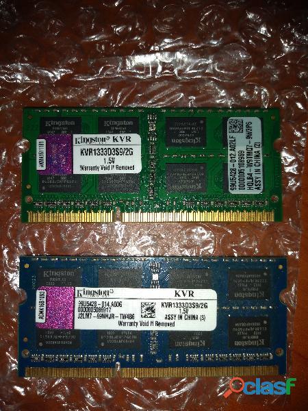 MEMORIA RAM 2GB DDR3 1333MHZ KINGSTON. 2X2GB (4GB EN TOTAL! segunda mano  Campo Elías (Mérida)