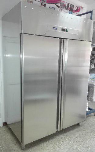 Nevera congelador vertical 02 puertas acero inoxidable