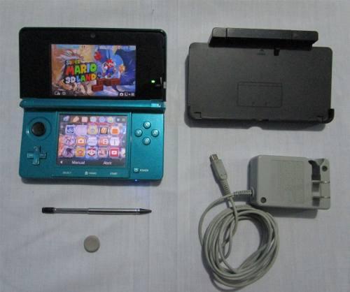 Nintendo 3ds azul + chip virtual + 4 juegos originales y