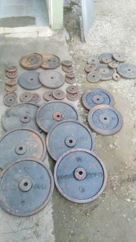 Gimnasio discos para pesas standard,el hueco es de 1 pulgada