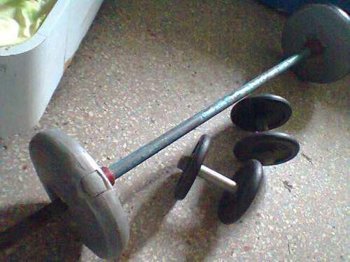Juego de pesas barra larga y mancuernas x25verdes