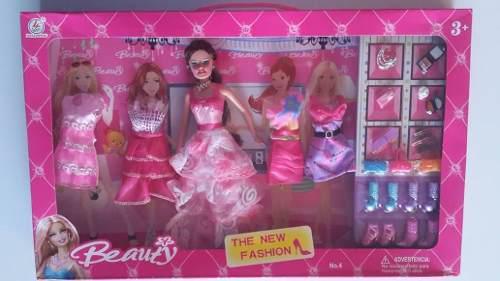 Muñeca barbie beauty + vestidos ac juguete niña niñas