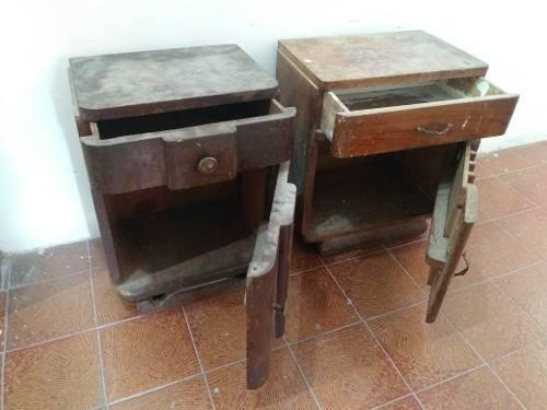 Muebles madera esquinero mesita de noche antiguedad vintage