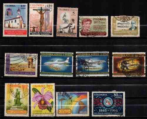 Estampillas colombia 1964-65 usadas