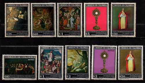 Estampillas colombia 1968 serie completa nuevas