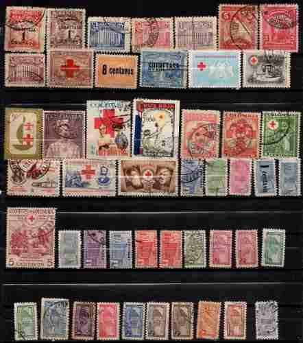 Estampillas colombia impuestos postales usadas