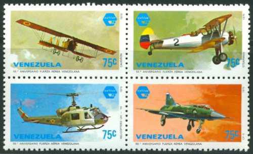 Estampillas venezuela serie 4 valores 1979 fuerza aérea