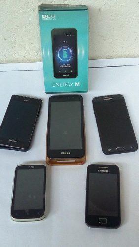 Teléfono celular samsung j3, blu, htc repuestos o reparar