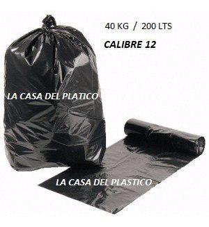 Bolsas plasticas negras para basura 40kg c12 200 litros